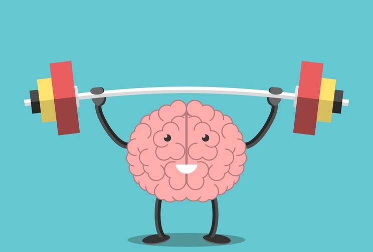 Strong powerful brain holding heavy barbell. Intelligence, mind, imagination, creativity, wisdom, knowledge and education concept. EPS 8 vector illustration, no transparency